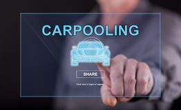 Man touching a carpooling concept on a touch screen. With his finger Royalty Free Stock Photography