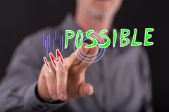 Man touching a challenge concept royalty free stock images
