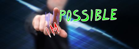 Man touching a challenge concept stock photography