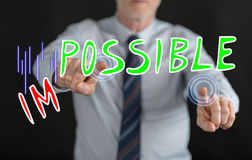 Man touching a challenge concept on a touch screen royalty free stock image
