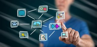 Man touching a cloud computing concept stock images