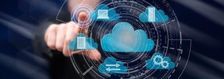 Man touching a cloud computing concept stock photos
