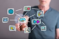 Man touching a cloud computing concept on a touch screen. With his finger Royalty Free Stock Photography