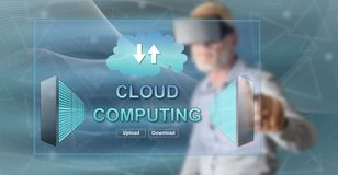 Man touching a cloud computing concept royalty free stock photo