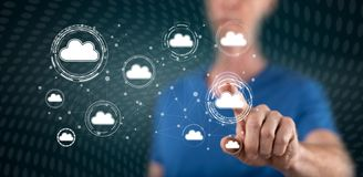 Man touching cloud networking concept stock photography