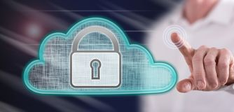 Man touching a cloud security concept royalty free stock photo