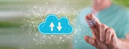 Free Man Touching Cloud Storage Concept Stock Photos - 139299503