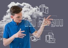Man touching communication and connection model against cloud Stock Photo