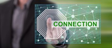Man touching a connection concept. On a touch screen with his finger royalty free stock image