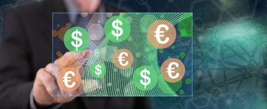 Man touching currency exchange concept stock photos