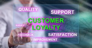 Man touching a customer loyalty concept. On a touch screen with his finger royalty free stock photo
