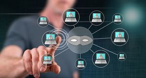 Man touching a cyber attack concept. On a touch screen with his finger royalty free stock image