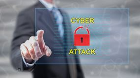 Man touching a cyber attack concept. On a touch screen with his fingers royalty free stock images