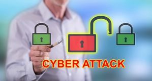 Man touching a cyber attack concept. On a touch screen with a pen royalty free stock image
