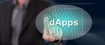 Man touching a dapps concept royalty free stock image