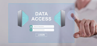 Man touching a data access concept on a touch screen Stock Image