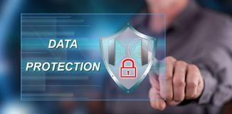 Man touching a data protection concept Royalty Free Stock Photography