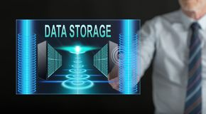 Man touching a data storage concept royalty free illustration