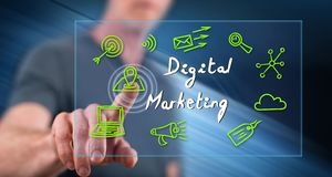 Man touching a digital marketing concept royalty free stock image