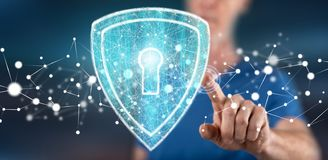 Man touching a digital security concept stock image