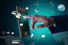 Man touching the digital tablet Royalty Free Stock Photography