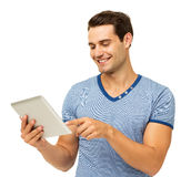 Man Touching Digital Tablet Royalty Free Stock Photos