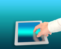 Man touching digital tablet with technology color background. Close up Stock Photos