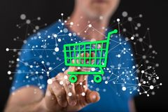 Man touching an e-commerce concept Royalty Free Stock Images