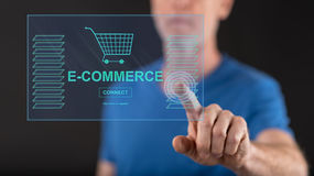 Man touching an e-commerce concept on a touch screen Royalty Free Stock Images