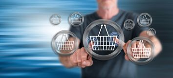Man touching an e-commerce concept royalty free stock photo