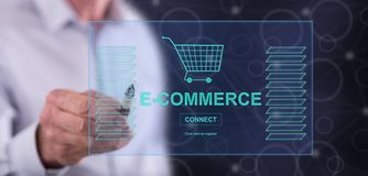Man touching an e-commerce concept stock images