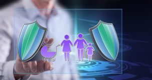 Man touching a family insurance concept stock photography