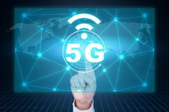 Man touching a 5g concept. royalty free stock photography