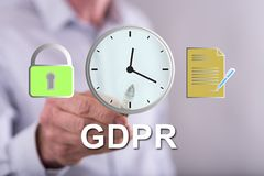 Man touching a gdpr concept royalty free stock images
