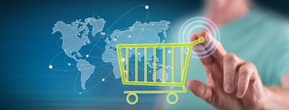 Man touching a global e-commerce concept royalty free stock photography