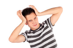 Man Touching Head Pose Royalty Free Stock Photo