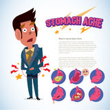 Man touching his belly. stomach ache pain concept. infographic with emotion set - vector illustration Stock Image