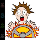 Man Touching a Hot Steering Wheel Stock Photography
