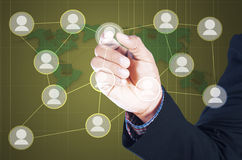 man touching icon of social network Royalty Free Stock Photography