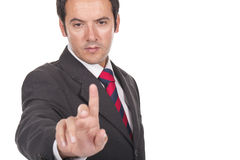 Man touching an imaginary screen or button Royalty Free Stock Photos