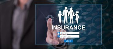 Man touching an insurance concept. On a touch screen with his finger royalty free stock photos
