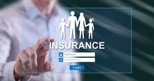 Man touching an insurance concept. On a touch screen with his finger stock photography