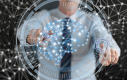 Man touching an intelligence concept on a touch screen Royalty Free Stock Image