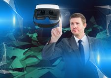Man touching and interacting with virtual reality headset with transition effect Stock Images