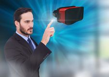 Man touching and interacting with virtual reality headset with transition effect Royalty Free Stock Photo