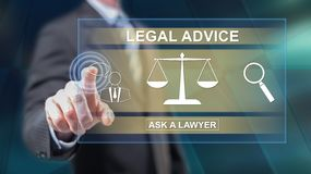 Man touching a legal advice concept stock images
