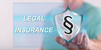 Man touching a legal insurance concept on a touch screen Stock Images