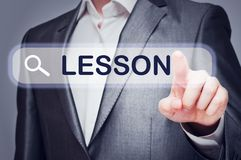 Man Touching Lesson Button On Virtual Screen Royalty Free Stock Photo