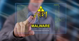 Man touching a malware concept. On a touch screen with his finger stock images