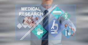 Man touching a medical research concept. On a touch screen with his fingers stock illustration